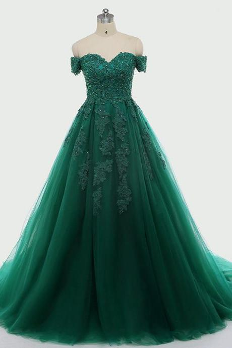 Dark Green Lace Appliques Quinceanera Dresses Short Sleeve Ball Gown For 15 Prom Party Dress
