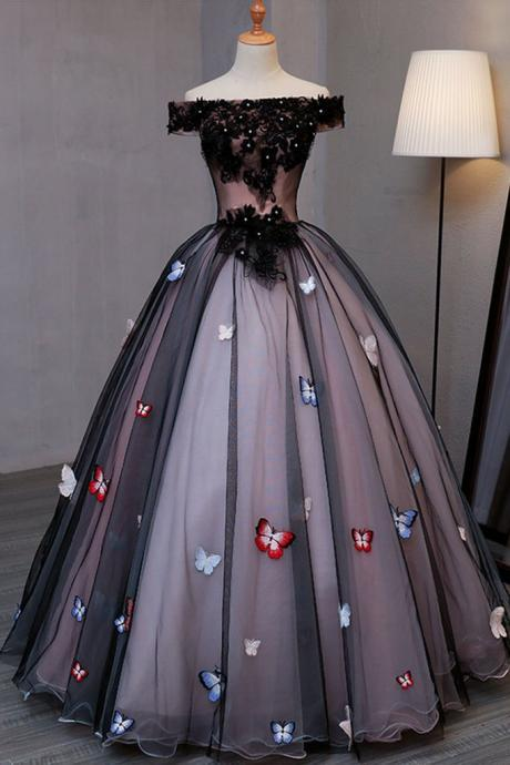 Princess Black Tulle Off Shoulder Long Evening Dress with Butterfly Appliques, Long Strapless Black Prom Dress