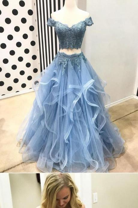 Off Shoulder Short Sleeve Two Pieces Light Blue Lace Long Custom Evening Prom Dresses