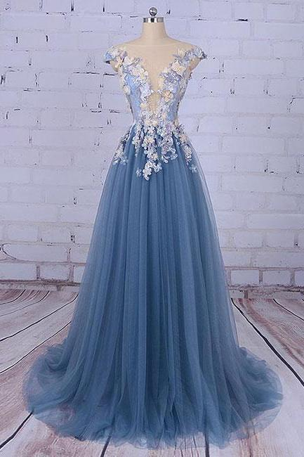 Blue Unique Round Neck Applique Tulle Long Prom Dress, Tulle Evening Dress
