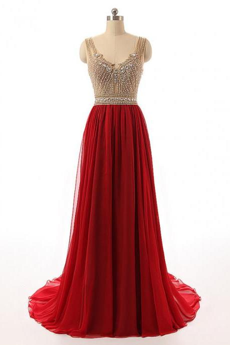 Cheap prom dresses 2018,Red Sleeveless V-Neck Beaded Long Prom Dress with Sweep Train