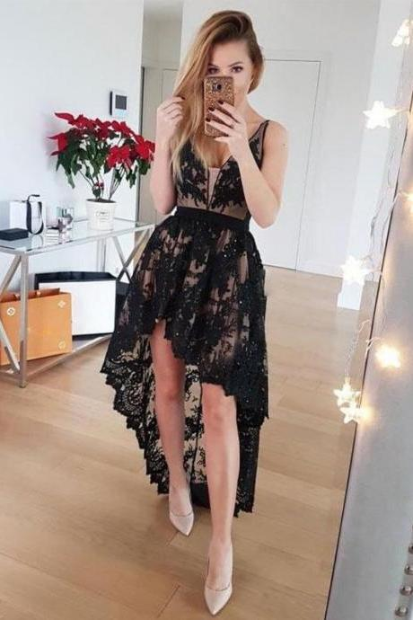 Black Lace Prom Dresses High Low Evening Dresses V Neck Formal Gowns Sexy Party Graduation Dresses for Teens Girls