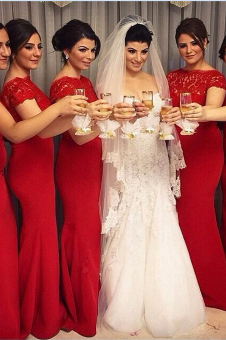Red Long Bridesmaid dresses short sleeves Scoop Cheap Lace Maid of honor dress Custom made Elegant Wedding party gowns plus size bridesmaid dresses