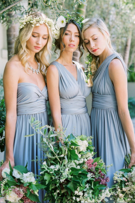 Dusty Blue Convertible/Multiway A-line Long Bridesmaid Dress, Mismatched Bridesmaid Dress