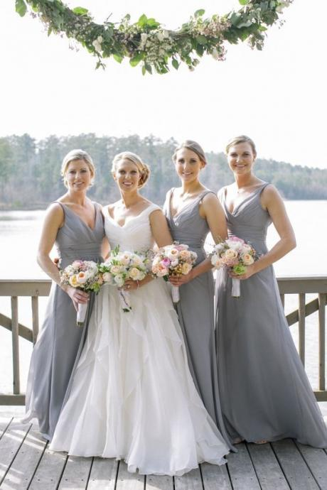Grey Bridesmaid Dress V-neck Bridesmaid Dress Chiffon Long Bridesmaid Dresses Bridesmaid Dress