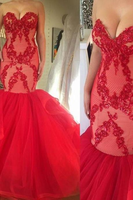 Custom Made Red Sweetheart Neckline Floor Length Lace Mermaid Evening Dress