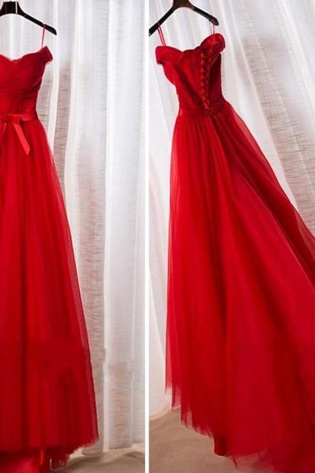 Long Tulle Prom Dresses, Off Shoulder Women Party Dresses,Lace Up Back Evening Dresses