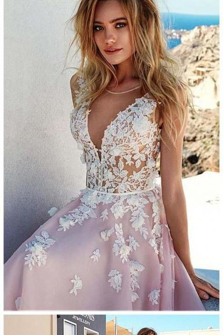 A-line V Neck Sweep/Brush Train Lace Applique Tulle Pink Wedding Dress