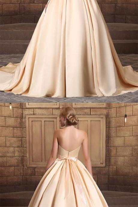 Gorgeous satin sweetheart neckline long backless ball gown