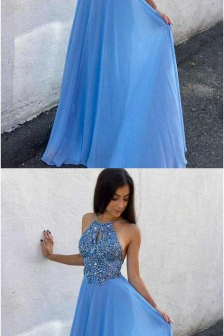 A-Line Round Neck Keyhole Blue Chiffon Prom Dress with Beading