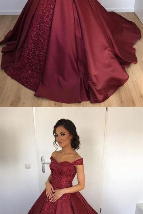 Ball Gown Off Shoulder Burgundy Satin Beaded Quinceanera Dress with Lace