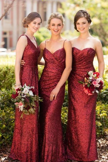 Red Floor Length Sequin Bridesmaid Dress