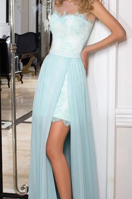 Winsome Lace & Chiffon prom gowns, Jewel Neckline evening dress,A-line Prom Dresses With Lace Appliques