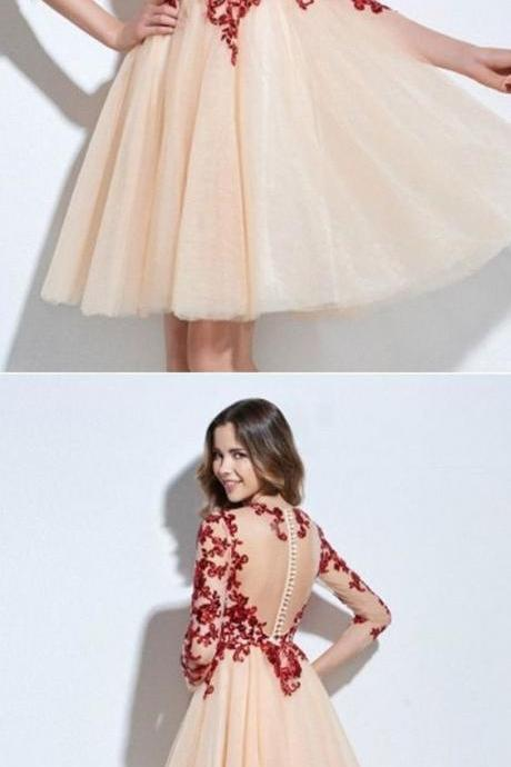Scoop 3/4 Length Sleeves Appliques Sequins Knee-Length Short Prom Dress