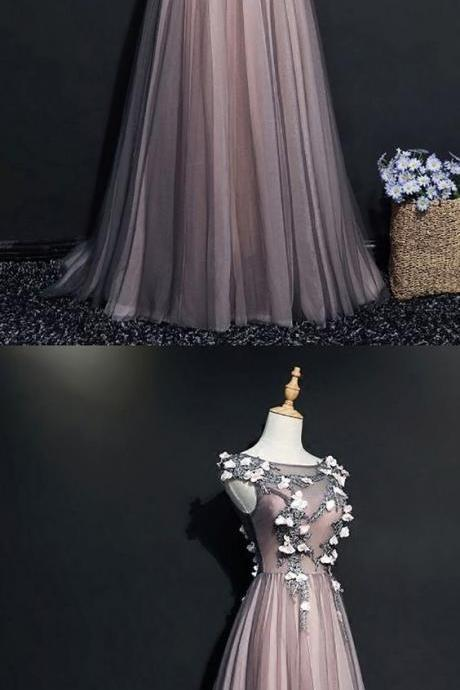 Tulle sleeveless long beaded evening dress with sash,3d flower applique ,floor length ,custom made