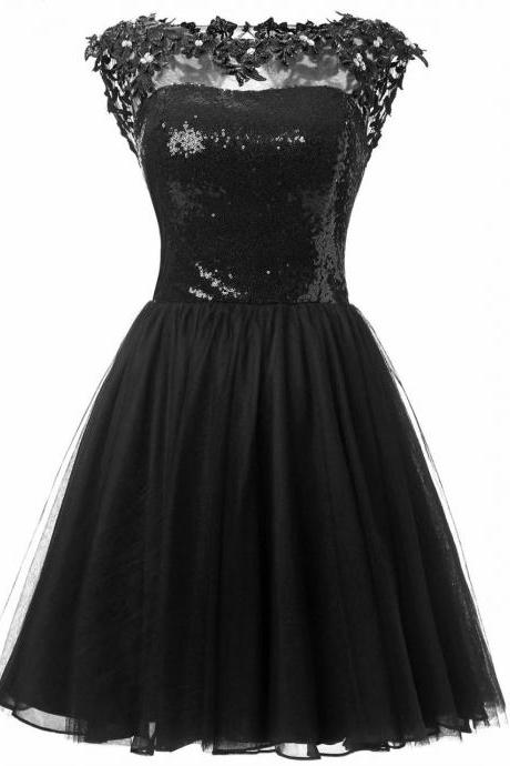 Black Tulle Cap Sleeve Sequined Bodice Cocktail Dress With Open Back