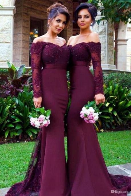 Custom Made Burgundy Lace Bodice Satin Off Shoulder Sweetheart Long Sleeves Prom Dress, Purple Sweep Train Bridesmaid Dresses, Burgundy Formal Gown