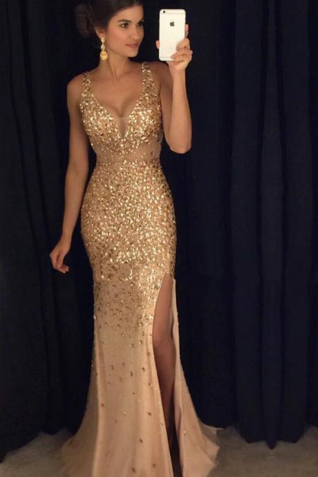 Fitted V Neck Prom Dress, Formal Gown, Prom Party Dress With Crystals,Stones