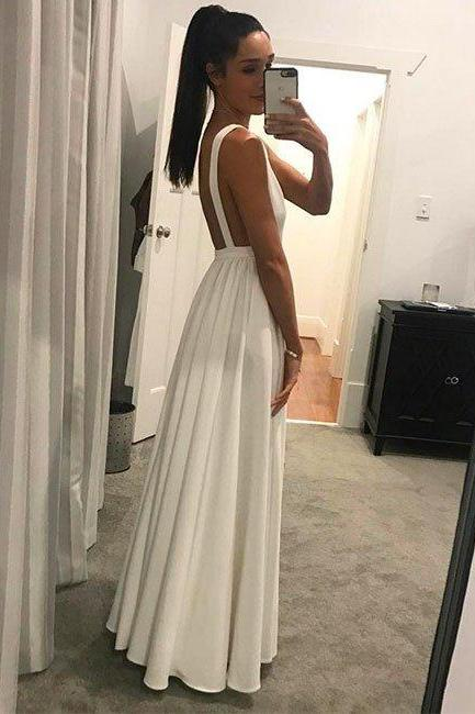 Sexy Ivory Low V Neck A Line Floor Length Formal Gown, Evening Dress With Open Back