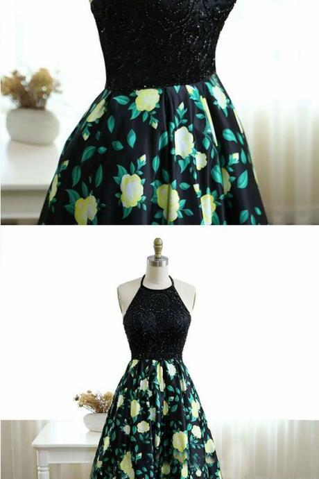 Halter Black Printed Satin Prom Dress with Beading, Long Ball Gown with Printed Skirt