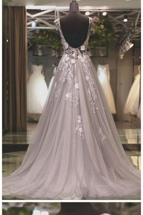 Long Grey Tulle Appliqued Prom Dresses See Through Backless Plus Size Formal Dresses