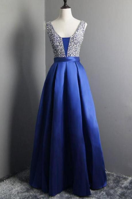 Long Beaded Satin Prom Dresses Simple V Neck Royal Blue Maternity Formal Dresses