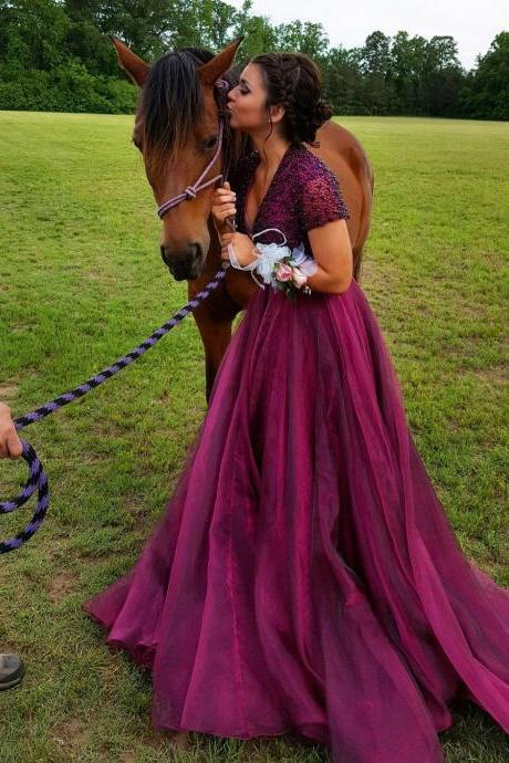 Short Sleeve Long Purple Prom Dresses Beaded V Neck Plus Size Prom Dress