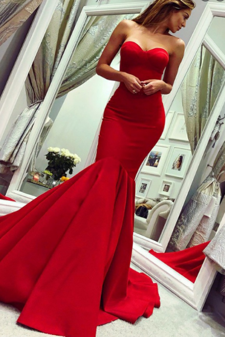 Sexy Sweetheart Red Satin Mermaid Prom Dresses Formal Occasion Dress
