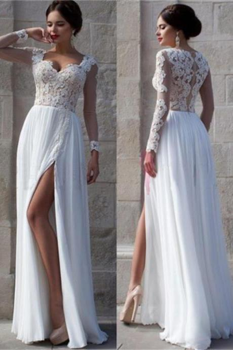 White Lace Side Slit Elegant Prom Dresses, Cheap Custom Wedding Dresses,Long Sleeve Prom Gown