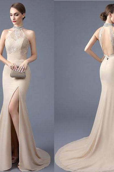 New Arrival Backless Champagne Mermaid Prom Dresses,High Neck Front Slit Lace Evening Dress Prom,Open Back Sexy Long Prom Gowns Women Party Dress