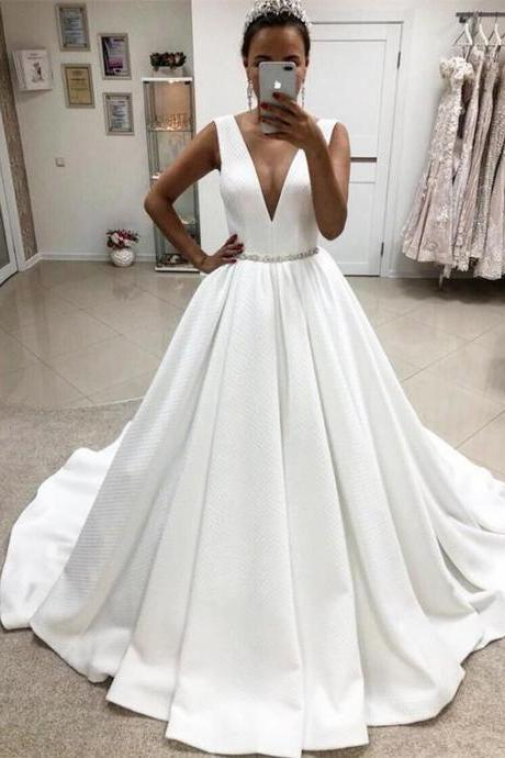 Sexy V-neck Ball Gown Satin Wedding Dresses wiith Crystal Beaded Sashes