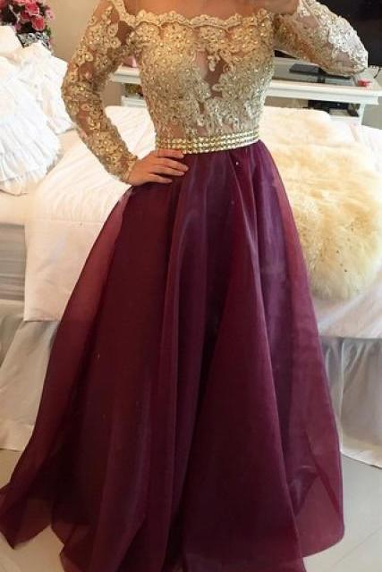 2016 Long Sleeves Prom Dresses Gold Illusion Lace Beaded Burgundy A-line Gorgeous Evening Gowns