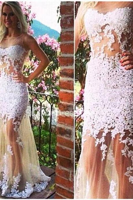 Lace Prom Dress Evening Dress Champagne Tulle Backless with White Lace Appliques