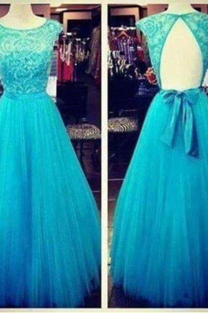 2016 Open Back Prom Dresses, Backless Lace Prom Dresses, Blue Prom Dress, Backless Evening Dresses, A Line Evening Dresses
