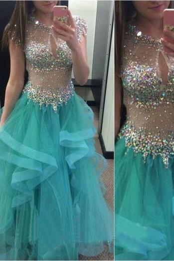 2016 Long Prom Dress, Blue Prom Dress, Sparkle Prom Dress, Party Prom Dress, Charming Prom Dress, O-Neck Prom Dress, Tulle Evening Dress Gown