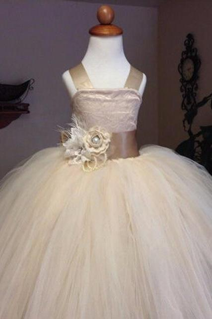 2016 Cheap Spaghetti straps Puffy Tulle Ball Gown Flower Girl Dresses 2016 Pageant Dresses For weddings Girls