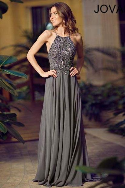 Sexy High handmade Custom Charming gray Prom Dress,A-Line Prom Dress,Chiffon Prom Dress,Prom Dress,Beading Evening Dress