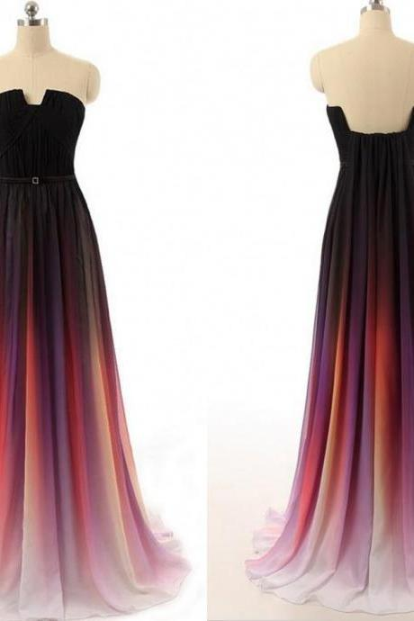 Prom Dress,Red Prom Dress,Discount Prom Dress,Custom Prom Dress,Beaded Prom Dress,Chiffon Prom Dress,2016 Prom Dress,Handmade Prom Dress,Long Prom Dress,Dress For Prom 2016 New Cheap Gradient Ombre Chiffon Prom Dress Evening Dress Strapless With Pleats Women Dress