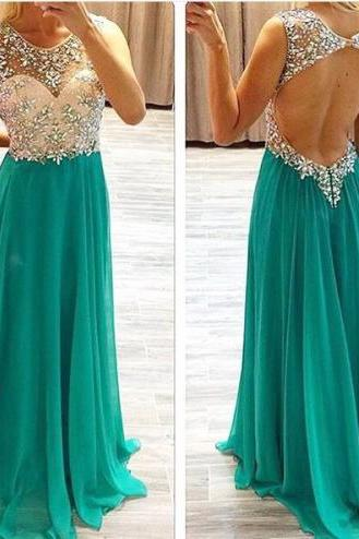 Chiffon Sweetheart Floor Length Crystal Empire Prom Dress Bridesmaid Dress Long Evening Dress 20162016 Sexy Custom High Quality Prom Dress,A-Line Prom Dress,O-Neck Prom Dress,Chiffon Prom Dress, Beading Prom Dress