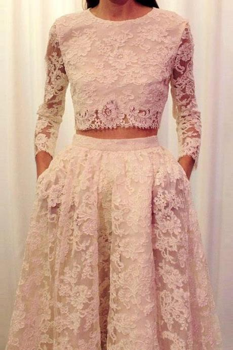 2 Piece Lace Prom Dress 2016 New Scoop Long Sleeve Sweep Train Women Formal Party Gown 2015