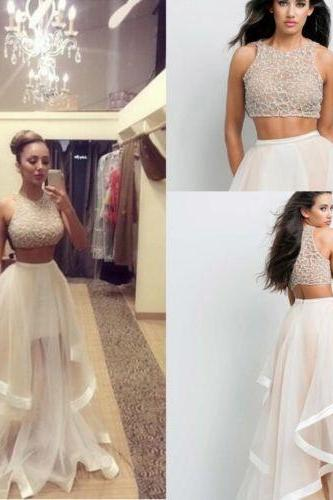 Two Piece Prom Dresses 2016 Custom Made Women Long Evening Party Dress