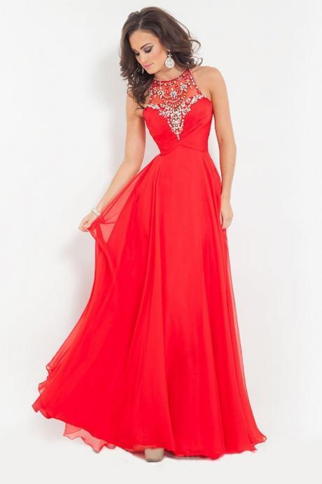 New Fashion Red Prom Dress 2016 Scoop Neck Beading and Crystal Pageant Dresses for Women Cash on Delievery