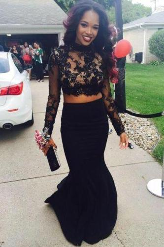 Elegant Mermaid Two Piece Prom Dresses 2016 High Neck Black Appliques Backless Long Sleeve Formal Evening Gowns