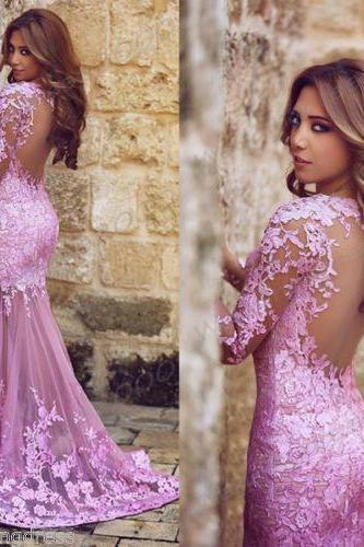 Charming 2016 New Listing Lilac Lace Mermaid Prom Dresses Sheer Back Long Sleeve Floor Length Evening Gowns