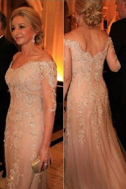 2016 Scoop Cap Sleeve Wedding Dresses A Line New Fashion Backless Lace Appliques Floor Length Bridal GownsLace A Line Formal Evening Gowns Beaded V Neck Three Quarter Sleeves Sexy Back Mother of the Bride Dresses 2016 Party Dress