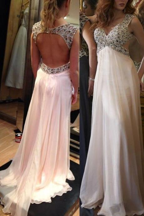 Beaded Chiffon Prom Dresses 2016 New V Neck Long Evening Dresses with Open Back Custom Size