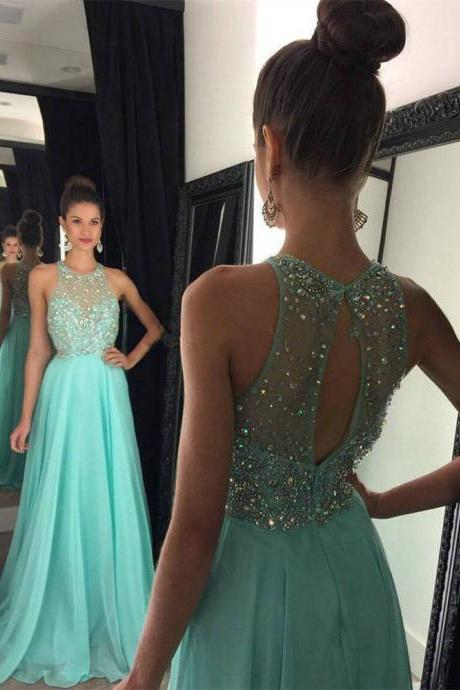 Beautiful A Line Prom Dresses 2016 Scoop Neck Off the Shoulder Beads Backless Formal Evening Gowns
