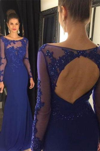 Fashion Royal Blue Chiffon Mermaid Prom Dresses 2016 New Scoop Appliques Beads Long Sleeve Backless Sweep Train Party Dresses