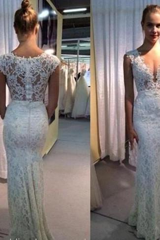 2016 New Cap Sleeve Mermaid Lace Wedding Dresses V Neck Zipper Appliques Floor Length Bridal Gowns