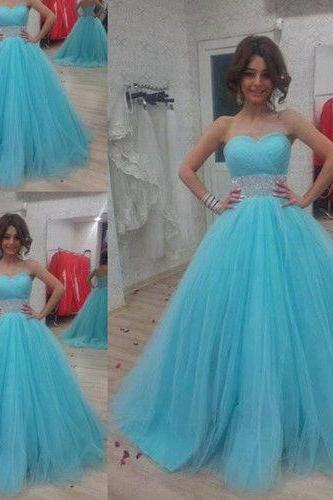 Sweetheart Blue Tulle Prom Dresses 2016 New Fashion Beading Backless Floor Length Long Party Gowns